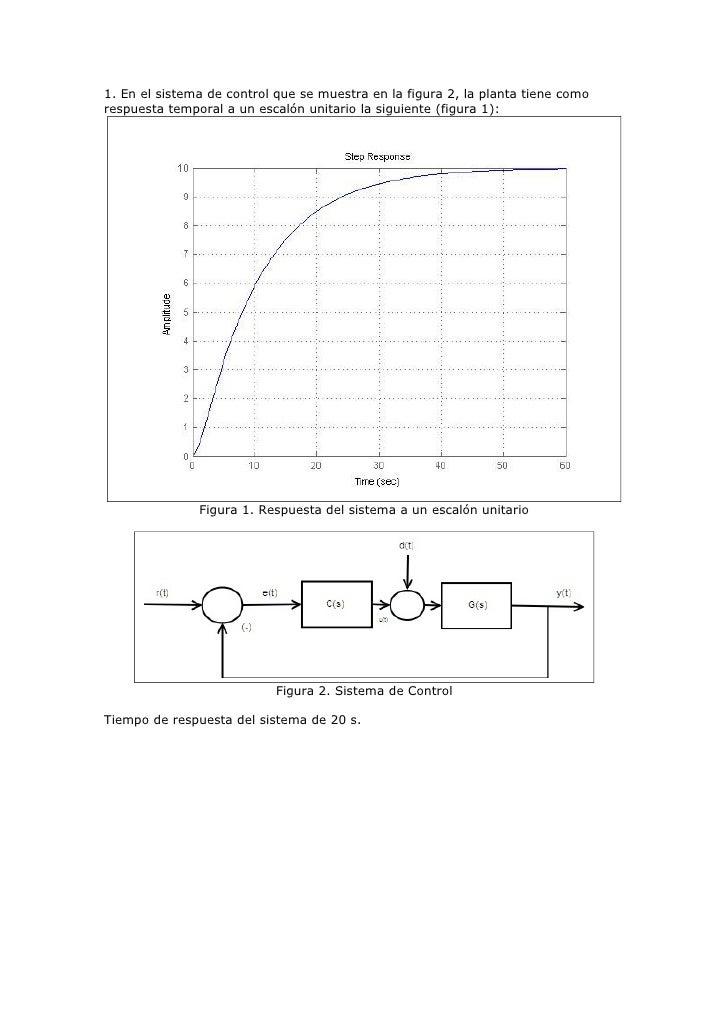 1. En el sistema de control que se muestra en la figura 2, la planta tiene como respuesta temporal a un escalón unitario l...