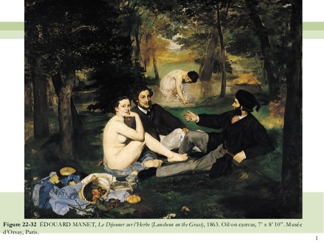 "1Figure 22-32 ÉDOUARD MANET, Le Déjeuner sur l'Herbe (Luncheon on the Grass), 1863. Oil on canvas, 7' x 8' 10"". Muséed'Ors..."