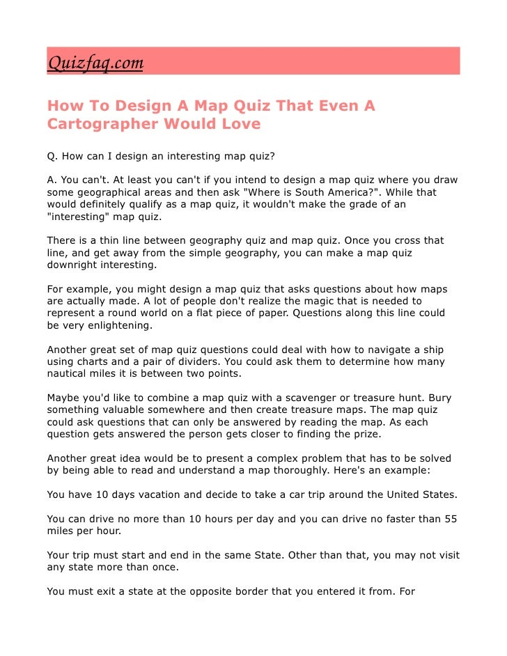 Quizfaq.com How To Design A Map Quiz That Even A Cartographer Would Love  Q. How can I design an interesting map quiz?  A....