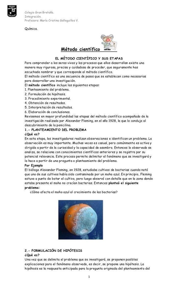 Química.<br />Método científico<br />EL MÉTODO CIENTÍFICO Y SUS ETAPAS<br />Para comprender a los seres vivos y los proces...