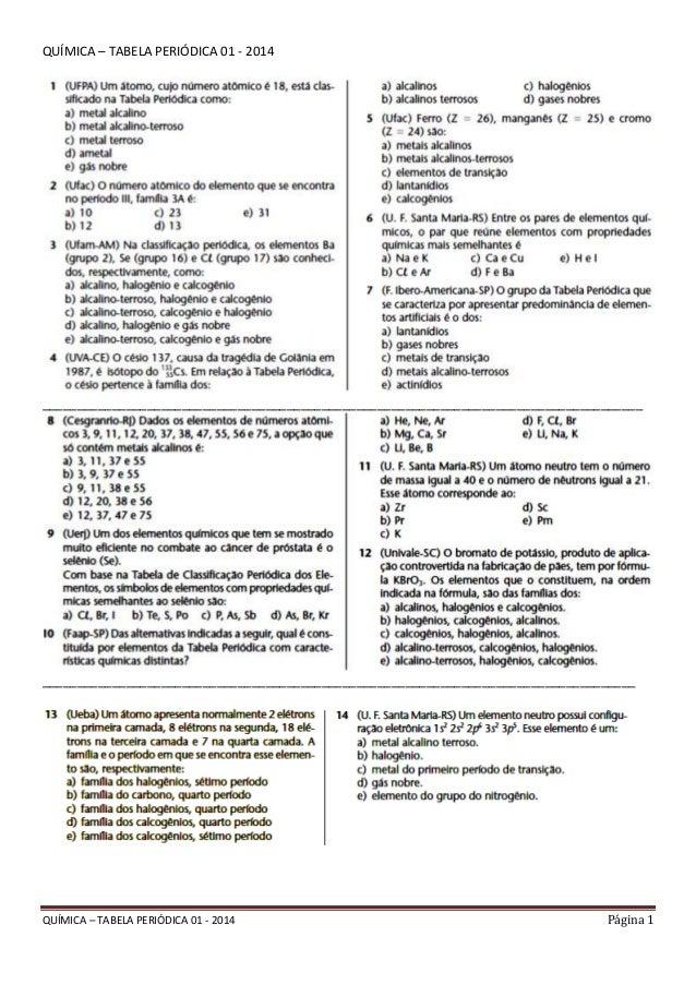 Química – tabela periódica 01   2014