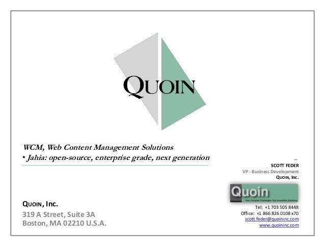 WCM, Web Content Management Solutions• Jahia: open-source, enterprise grade, next generation                            --...