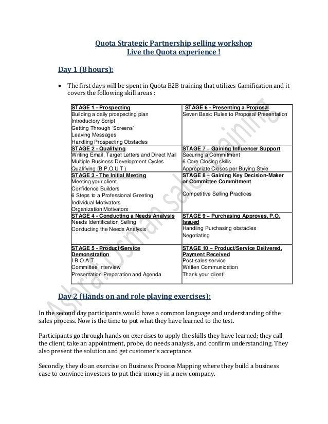 Quota strategic partner workshop (Quota experience).