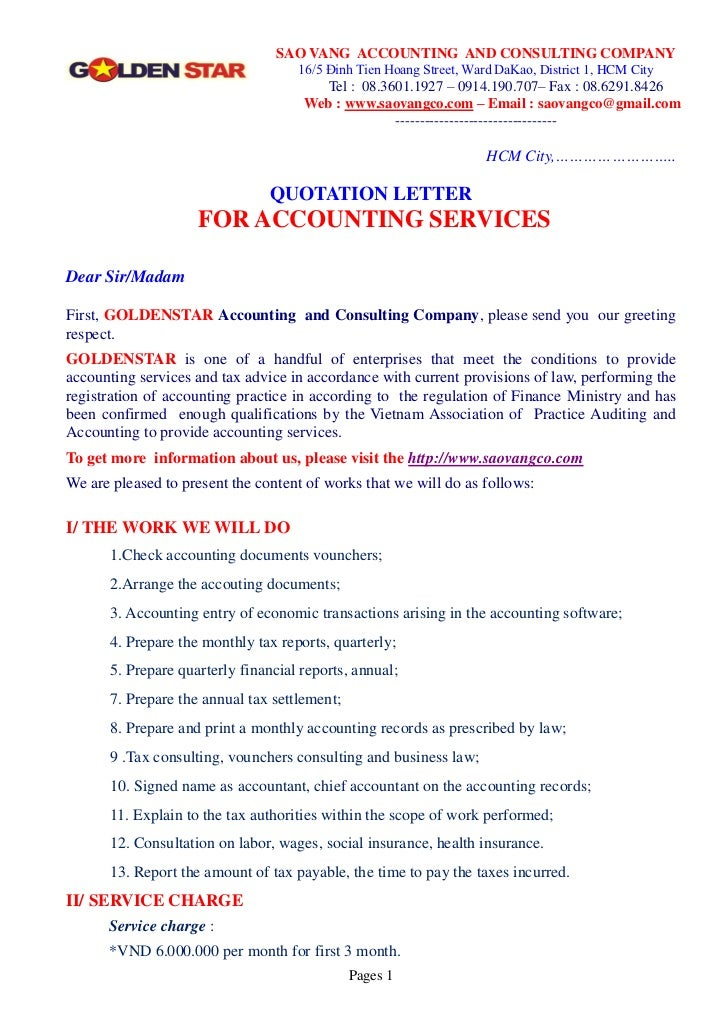 Quotation letter for accouting service