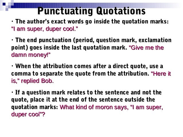 quoting in essays punctuation