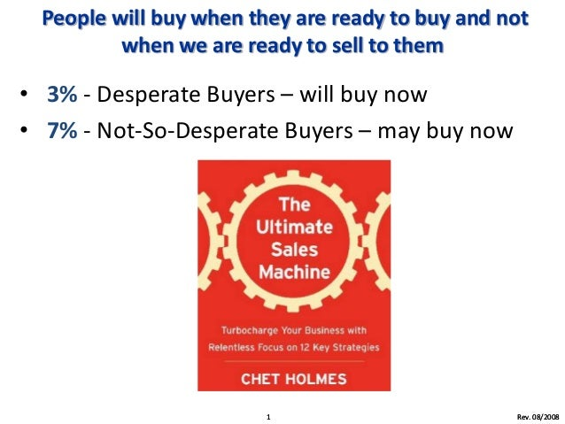 People will buy when they are ready to buy and not when we are ready to sell to them • 3% - Desperate Buyers – will buy no...