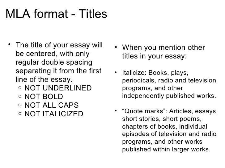 Mla Style Format Essay Examples