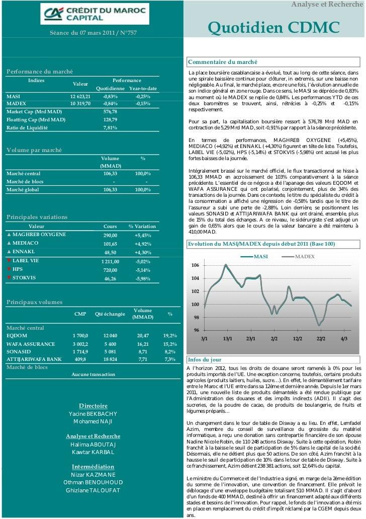 Analyse et Recherche                     Séance du 07 mars 2011 / N°757                                        Quotidien C...