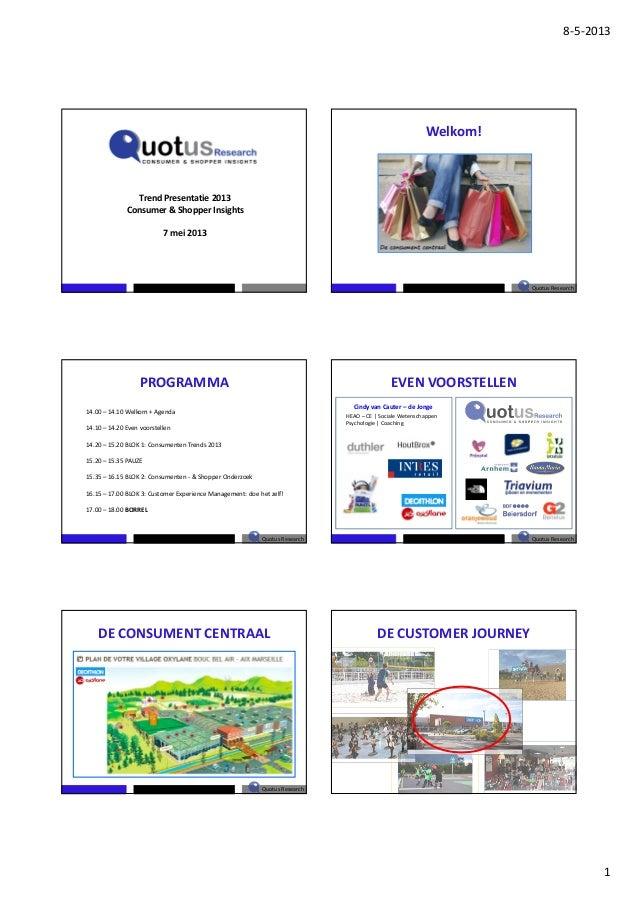 8-5-20131Trend Presentatie 2013Consumer & Shopper Insights7 mei 2013Welkom!Quotus ResearchPROGRAMMAQuotus Research14.00 – ...