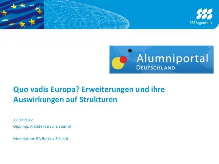 Quo vadis Europa? Erweiterungen und ihreAuswirkungen auf Strukturen17.07.2012Dipl.-Ing. Architektin Julia StumpfModeration...