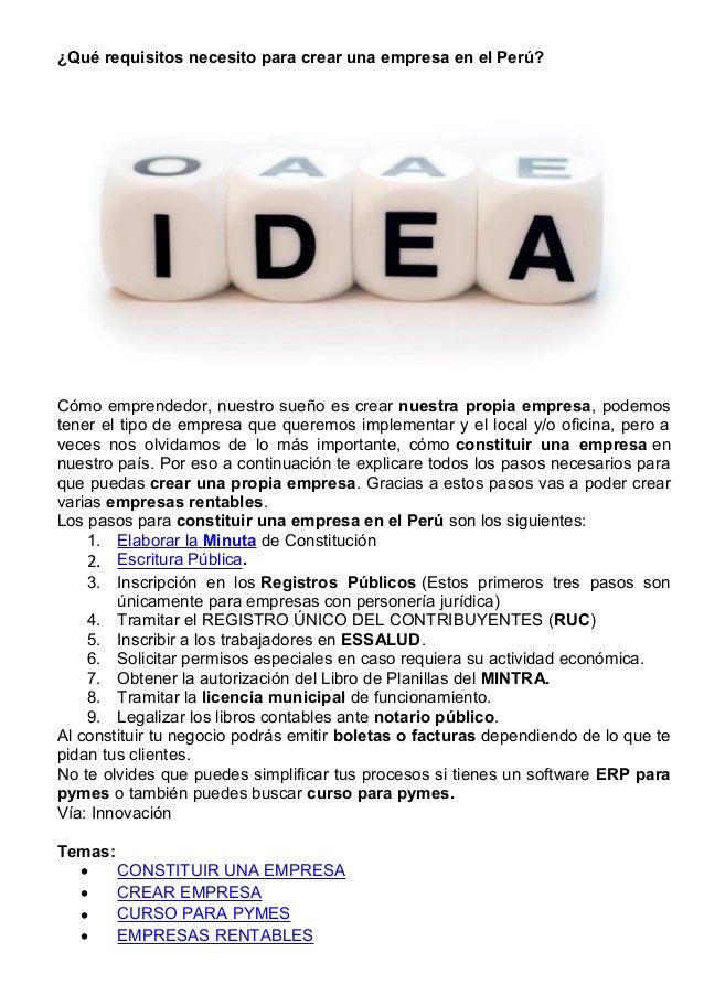 Qué requisitos necesito para crear una empresa en el perú