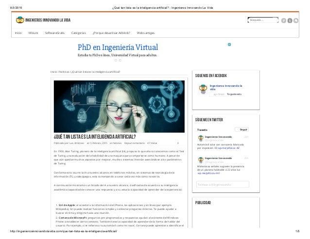 8/3/2015 ¿Qué tan lista es la inteligencia artificial? - Ingenieros Innovando La Vida http://ingenierosinnovandolavida.com...
