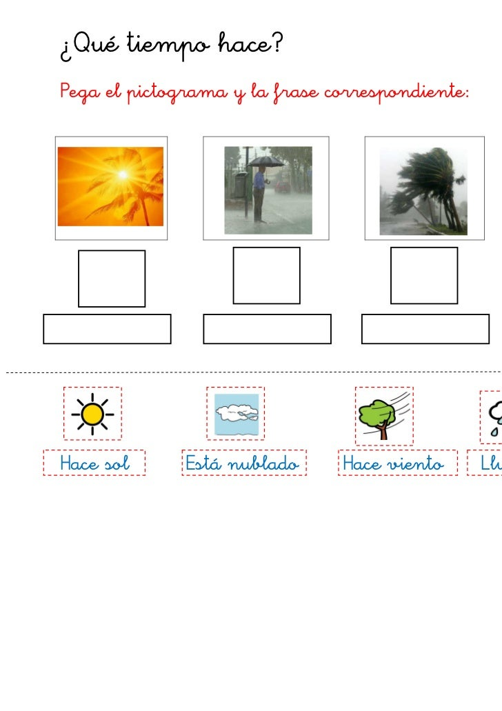 ¿Qué tiempo hace?Pega el pictograma y la frase correspondiente:Hace sol      Está nublado     Hace viento       Llueve