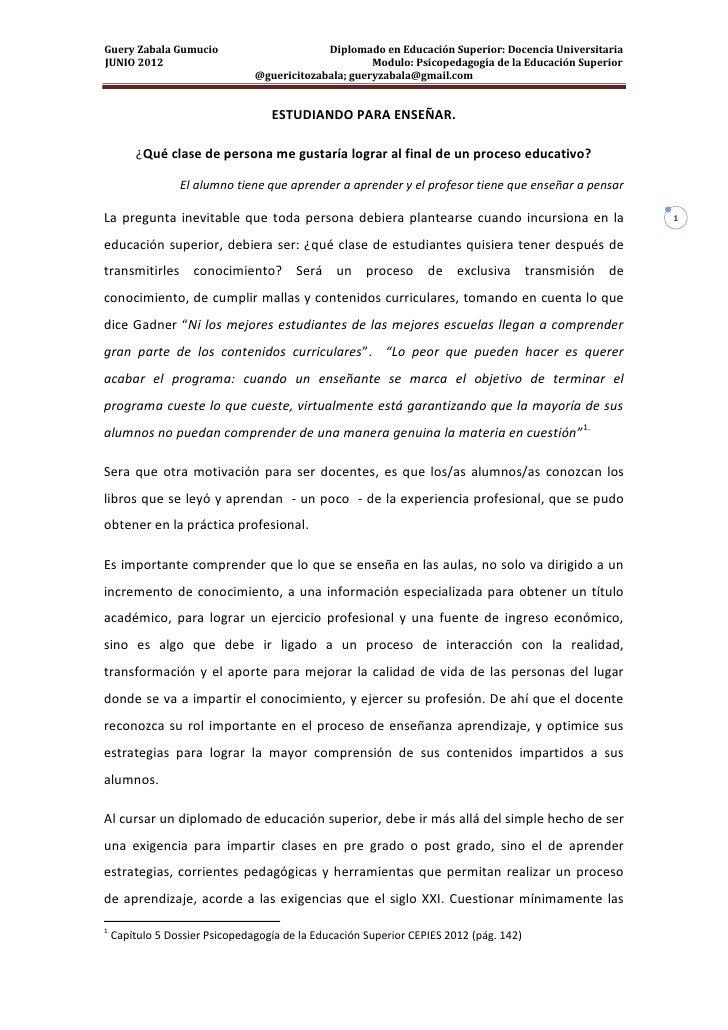 Guery Zabala Gumucio                         Diplomado en Educación Superior: Docencia UniversitariaJUNIO 2012            ...