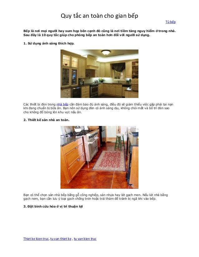 Quy tắc an toàn cho gian bếp Tủ bếp Thiet ke kien truc, tu van thiet ke , tu van kien truc Bếp là nơi mọi người hay sum họ...