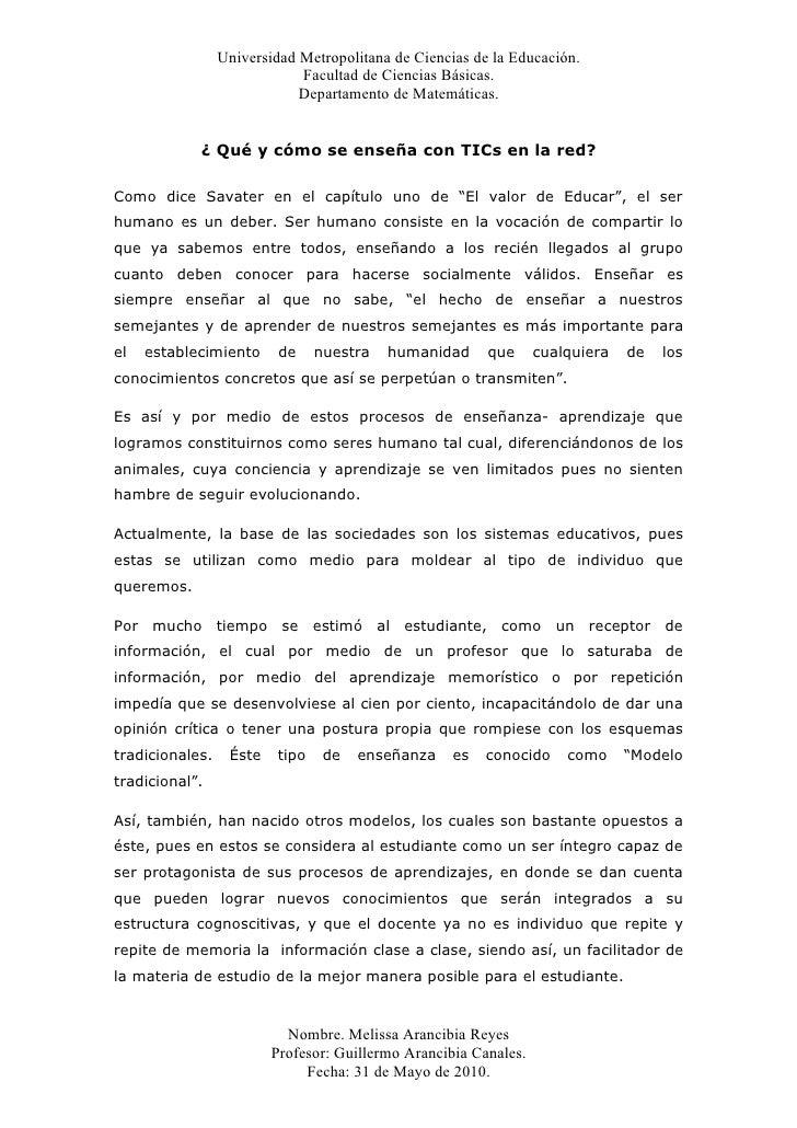 Universidad Metropolitana de Ciencias de la Educación.                              Facultad de Ciencias Básicas.         ...