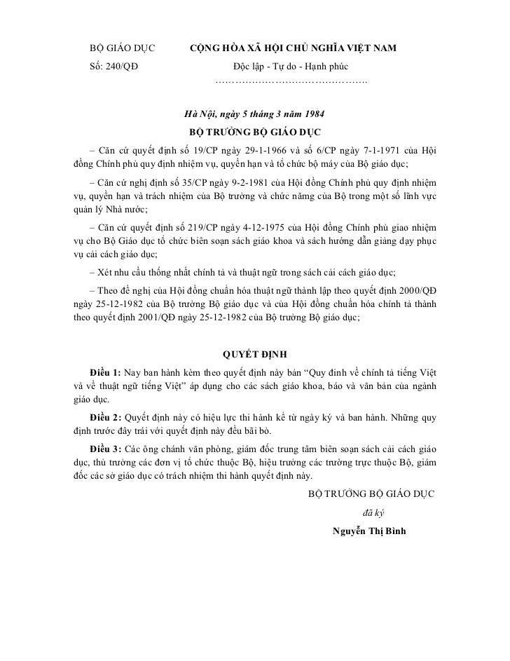 BỘ GIÁO DỤC             CỘNG HÒA XÃ HỘI CHỦ NGHĨA VIỆT NAM   Số: 240/QĐ                       Độc lập - Tự do - Hạnh phúc ...