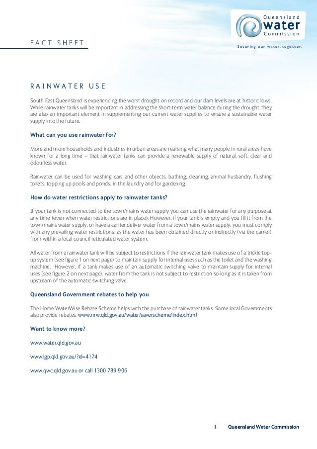 Rainwater Use - Queensland, Australia