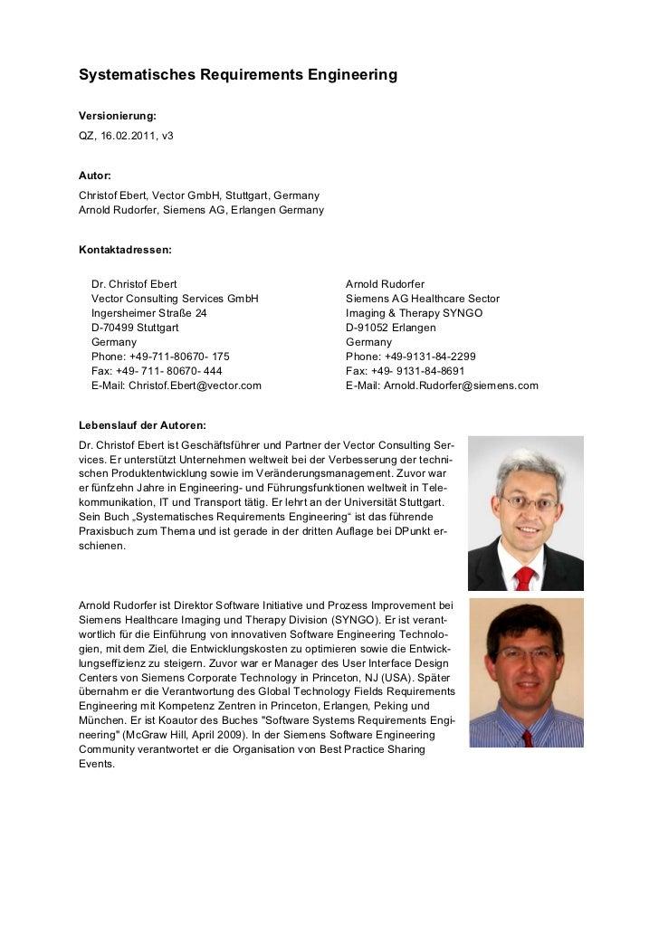 Systematisches Requirements EngineeringVersionierung:QZ, 16.02.2011, v3Autor:Christof Ebert, Vector GmbH, Stuttgart, Germa...