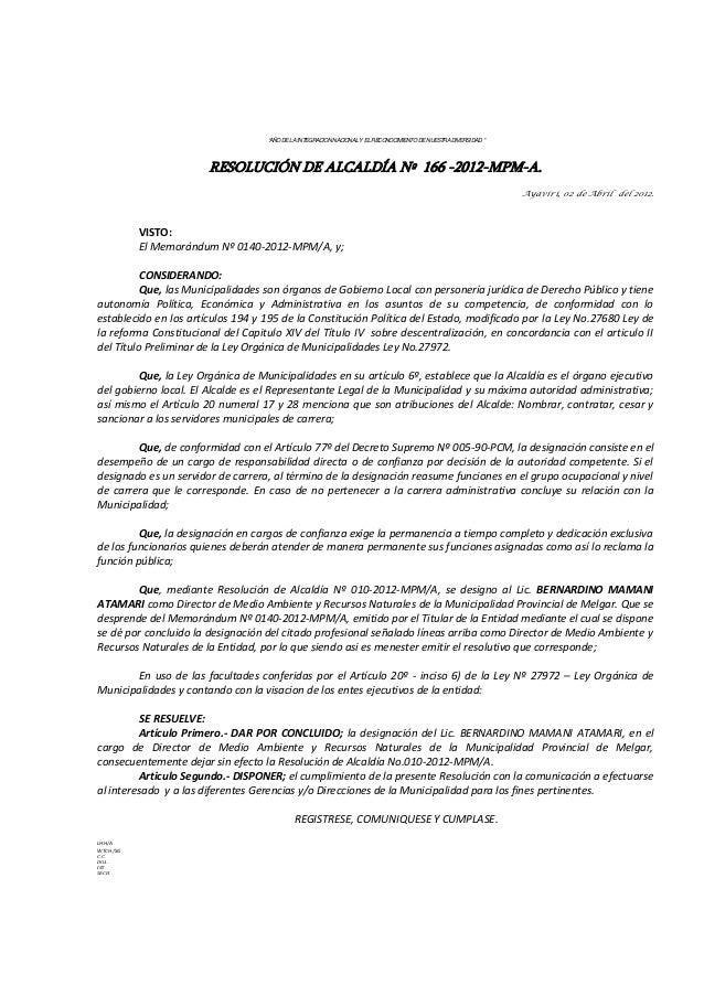 """""""AÑO DE LA INTEGRACION NACIONAL Y EL RECONOCIMIENTO DE NUESTRA DIVERSIDAD """" RESOLUCIÓN DE ALCALDÍA Nº 166 -2012-MPM-A. Aya..."""