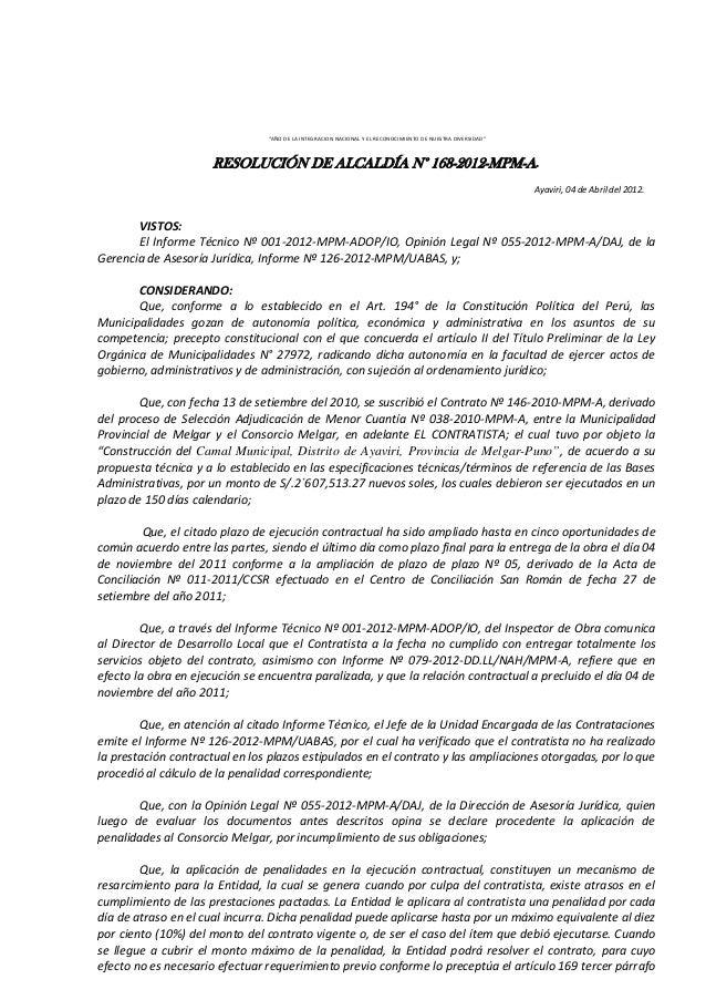 """""""AÑO DE LA INTEGRACION NACIONAL Y EL RECONOCIMIENTO DE NUESTRA DIVERSIDAD"""" RESOLUCIÓN DE ALCALDÍA N° 168-2012-MPM-A. Ayavi..."""