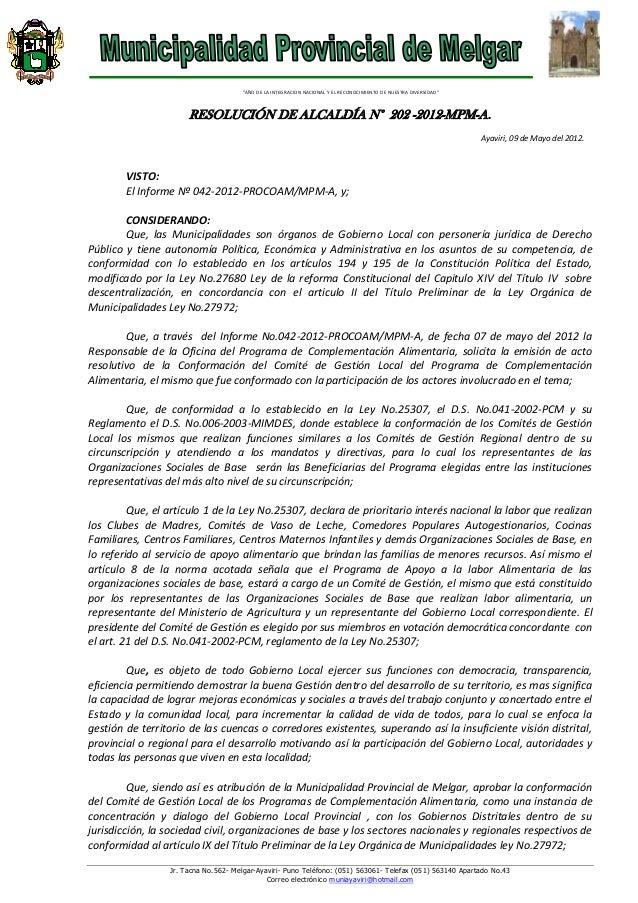 R.a. no.202 comite gestion local procoam 2012
