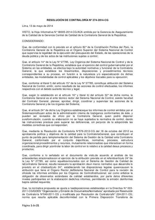 Página 1 de 21 RESOLUCIÓN DE CONTRALORÍA Nº 274-2014-CG Lima, 13 de mayo de 2014 VISTO, la Hoja Informativa N° 00005-2014-...