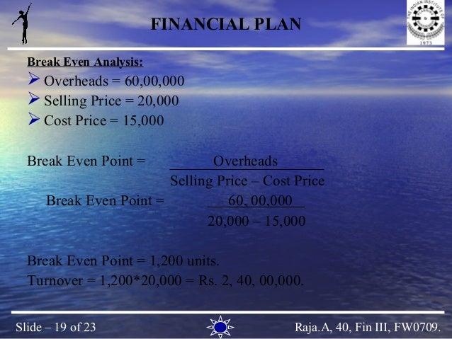 Break even analysis in business plan