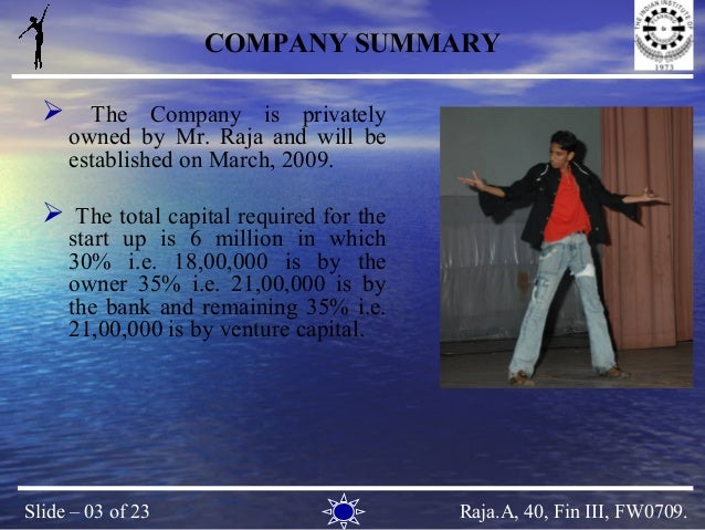 Dance company business plan