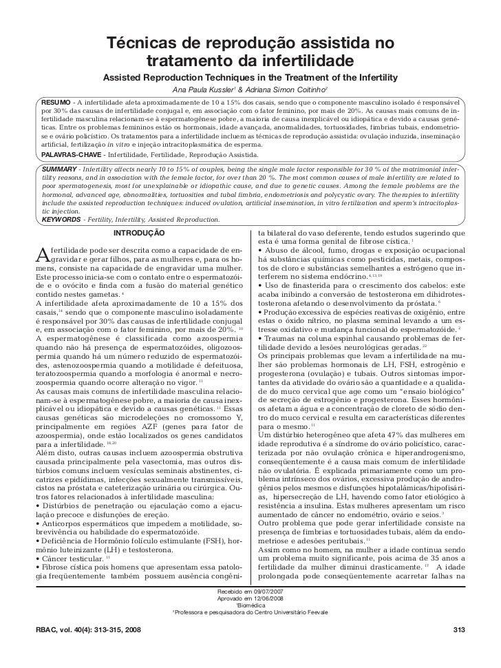 Técnicas de reprodução assistida no                          tratamento da infertilidade                     Assisted Repr...