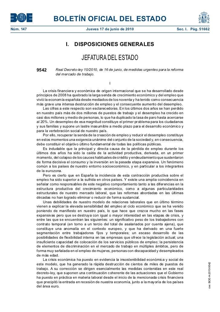 R. D-Ley 10/2010 de medidas urgentes para la reforma del mercado de trabajo