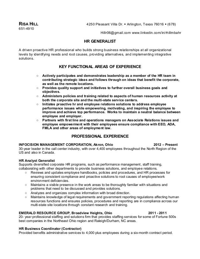 hr generalist resume samples this combination resume and most of - Entry Level Human Resources Resume