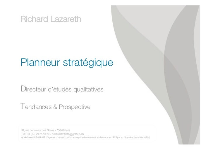 Richard LAZARETH Directeur d'études qualitatives // planneur stratégique