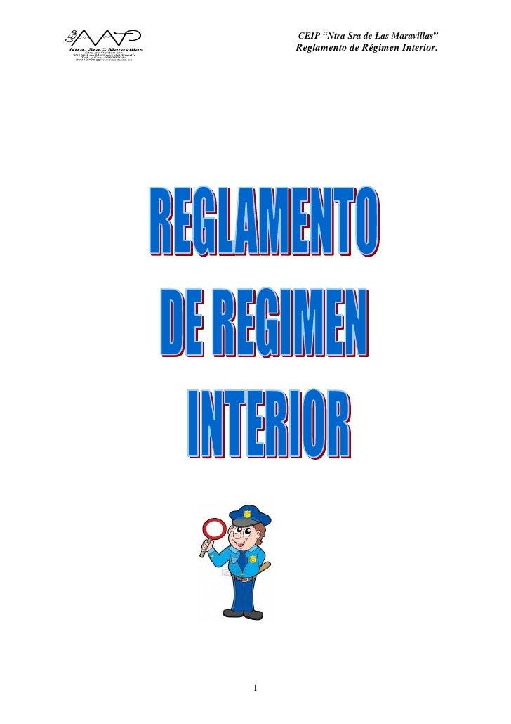 """CEIP """"Ntra Sra de Las Maravillas""""    Reglamento de Régimen Interior.1"""