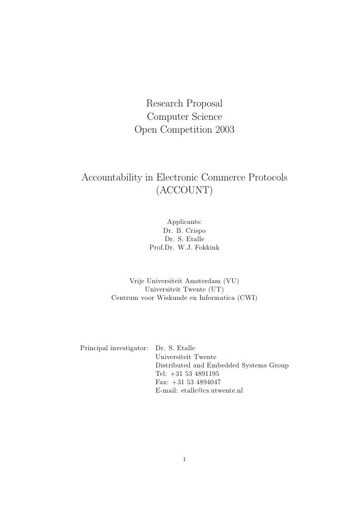Research Proposal                   Computer Science                 Open Competition 2003    Accountability in Electronic...
