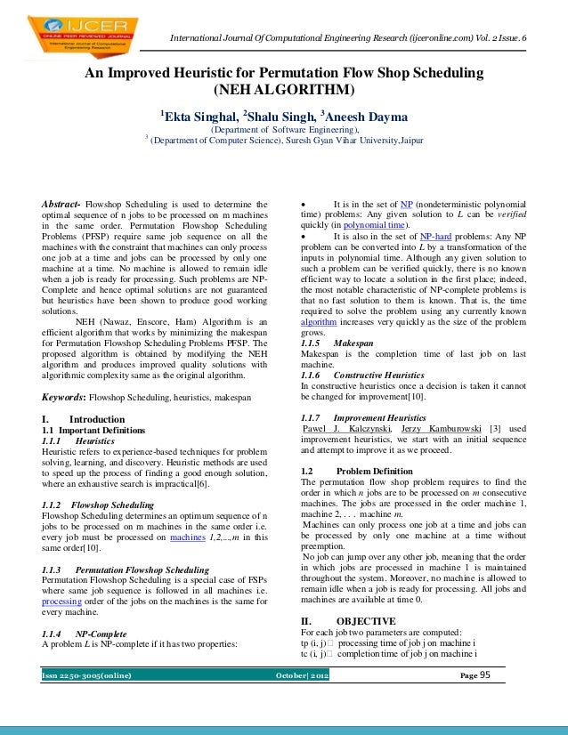 International Journal Of Computational Engineering Research (ijceronline.com) Vol. 2 Issue. 6           An Improved Heuris...