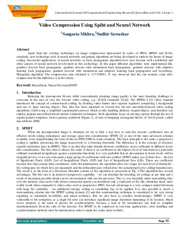 I nternational Journal Of Computational Engineering Research (ijceronline.com) Vol. 2 Issue. 7                   Video Com...
