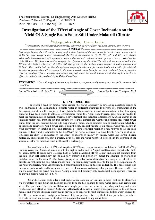 The International Journal Of Engineering And Science (IJES) ||Volume||2 ||Issue|| 7 ||Pages|| 131-138||2013|| ISSN(e): 231...