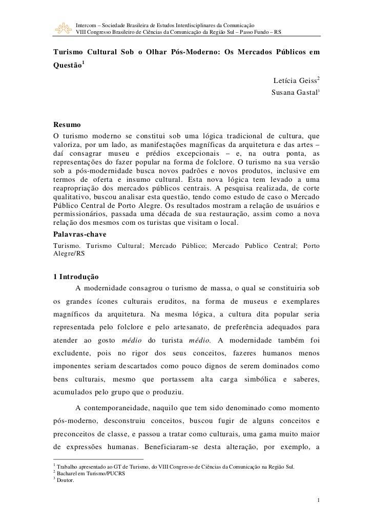 Intercom – Sociedade Brasileira de Estudos Interdisciplinares da Comunicação         VIII Congresso Brasileiro de Ciências...