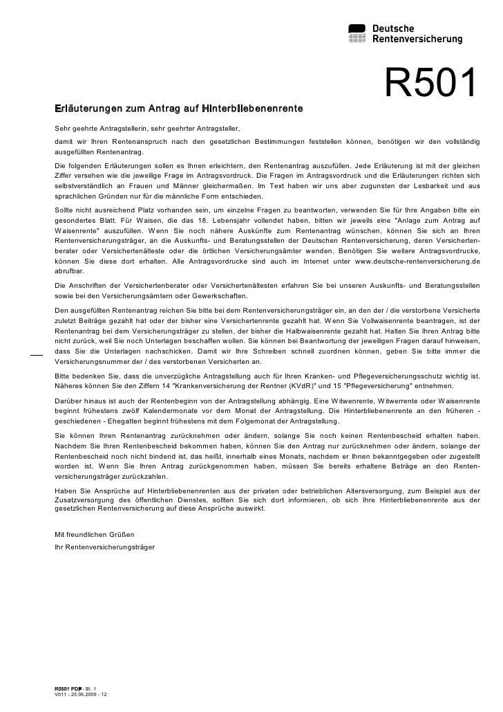 R0501 Internetvordruck Deutsche Rentenversicherung
