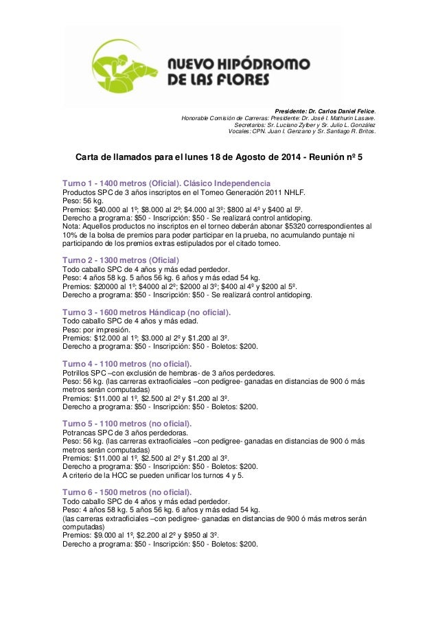 Presidente: Dr. Carlos Daniel Felice. Honorable Comisión de Carreras: Presidente: Dr. José I. Mathurin Lasave. Secretarios...