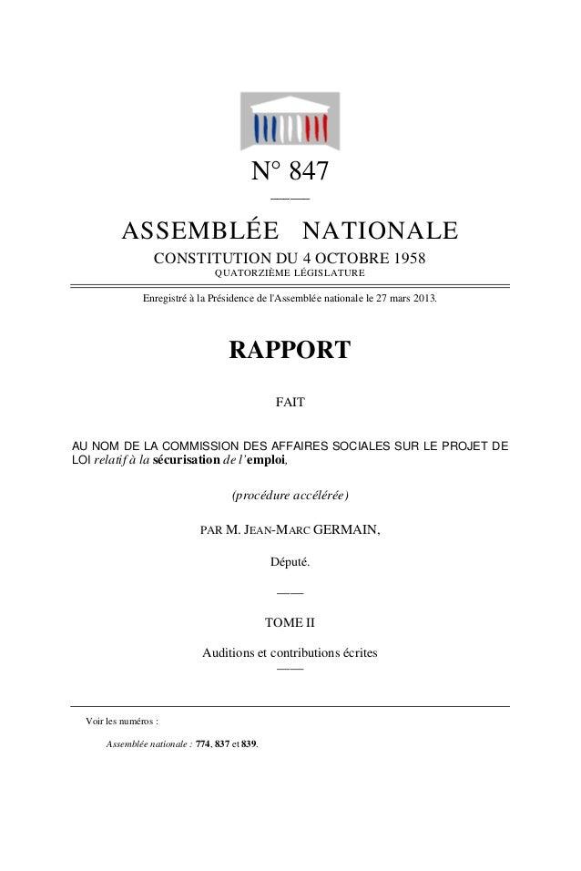 Rapport de la Com. Aff. Soc de l'assemmblée Nationale JM Germain sur l'ANI Tome II