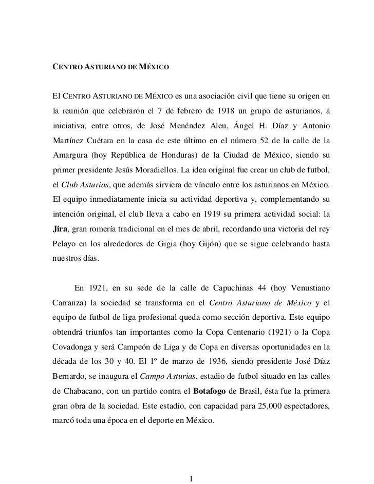 CENTRO ASTURIANO DE MÉXICOEl CENTRO ASTURIANO DE MÉXICO es una asociación civil que tiene su origen enla reunión que celeb...