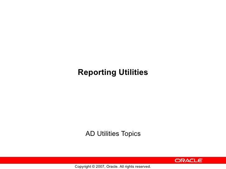 Reporting Utilities AD Utilities Topics