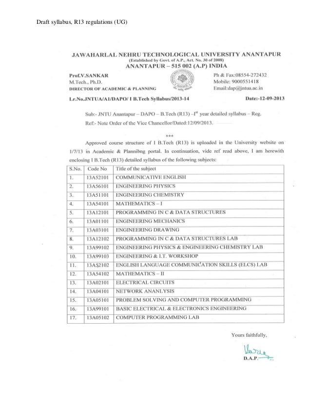 R 13 regulations b tech ist year syllabi of all branches 12 sept 13