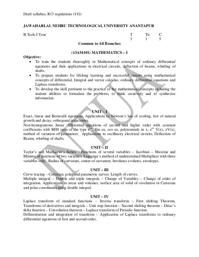 12  Draft syllabus  R13 R 13 Regulations B Tech Ist Year Syllabi Of All Branches 12 Sept 13