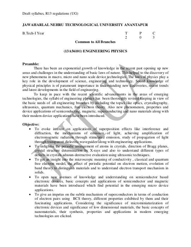 syllabus  R13 regulations R 13 Regulations B Tech Ist Year Syllabi Of All Branches 12 Sept 13