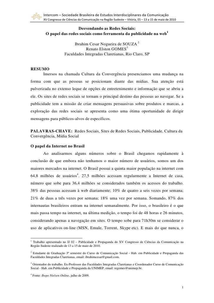 Intercom – Sociedade Brasileira de Estudos Interdisciplinares da Comunicação             XV Congresso de Ciências da Comun...