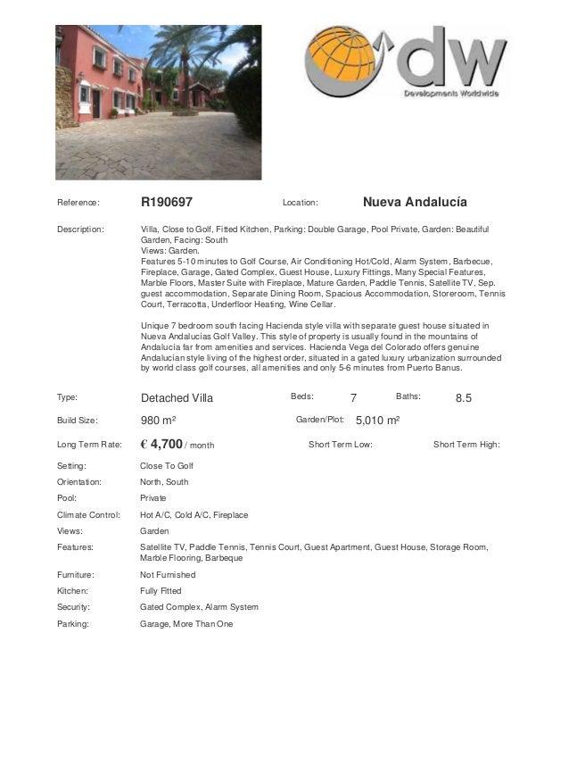 Reference:         R190697                              Location:              Nueva AndalucíaDescription:       Villa, Cl...