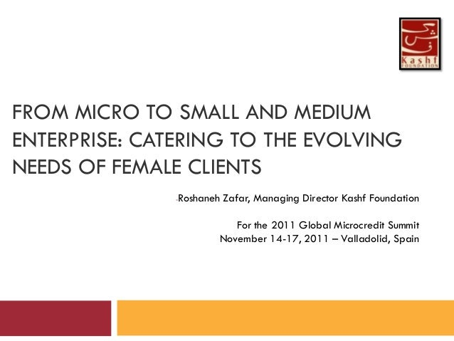 FROM MICRO TO SMALL AND MEDIUMENTERPRISE: CATERING TO THE EVOLVINGNEEDS OF FEMALE CLIENTS               -   Roshaneh Zafar...